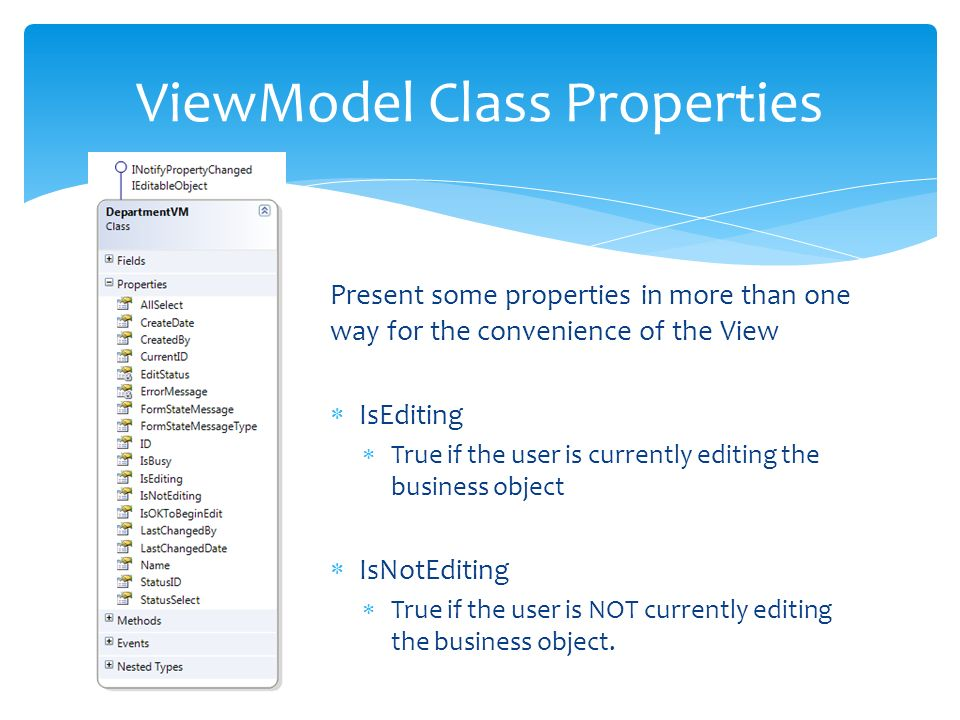 Present some properties in more than one way for the convenience of the View IsEditing True if the user is currently editing the business object IsNotEditing True if the user is NOT currently editing the business object.