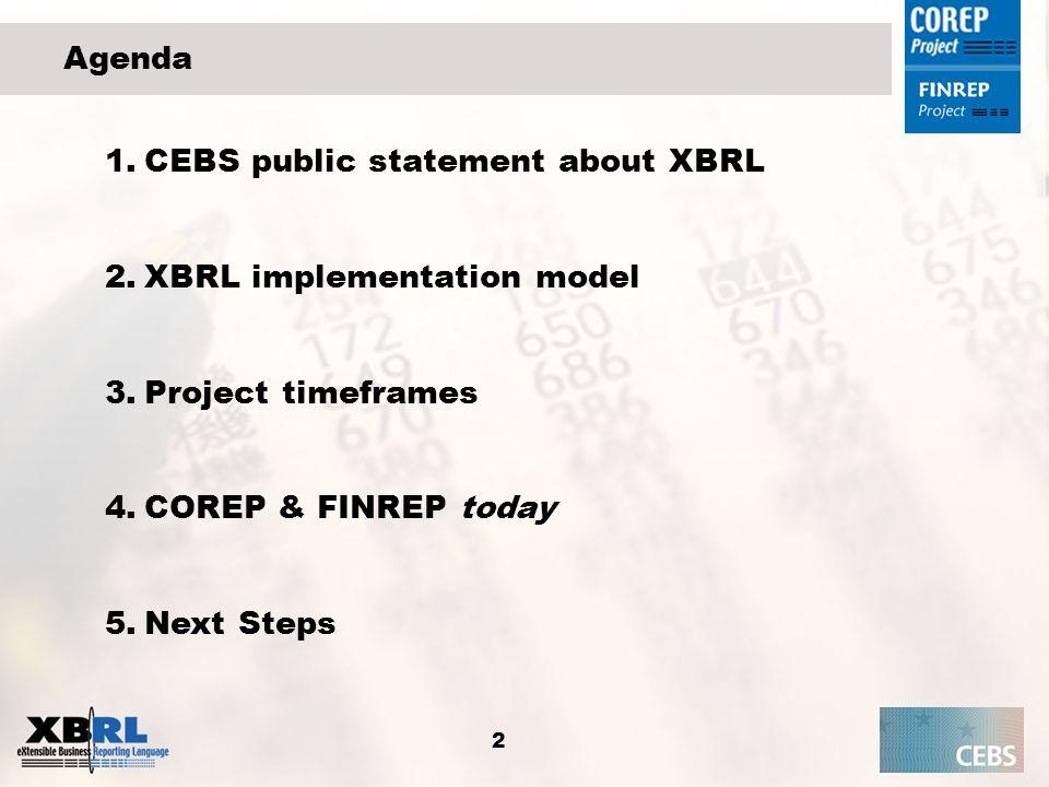 2 Agenda 1.CEBS public statement about XBRL 2.XBRL implementation model 3.Project timeframes 4.COREP & FINREP today 5.Next Steps