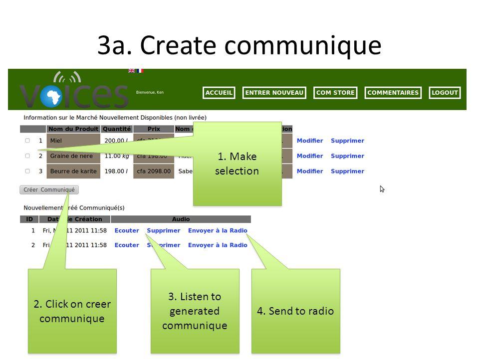 3a. Create communique 2. Click on creer communique 1.