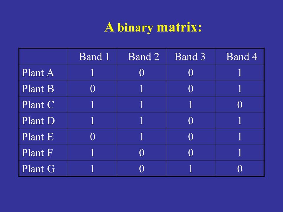 Band 1 Band 2 Band 3 Band 4 Plant A 1 0 0 1 Plant B 0 1 0 1 Plant C 1 1 1 0 Plant D 1 1 0 1 Plant E 0 1 0 1 Plant F 1 0 0 1 Plant G 1 0 1 0 A binary m