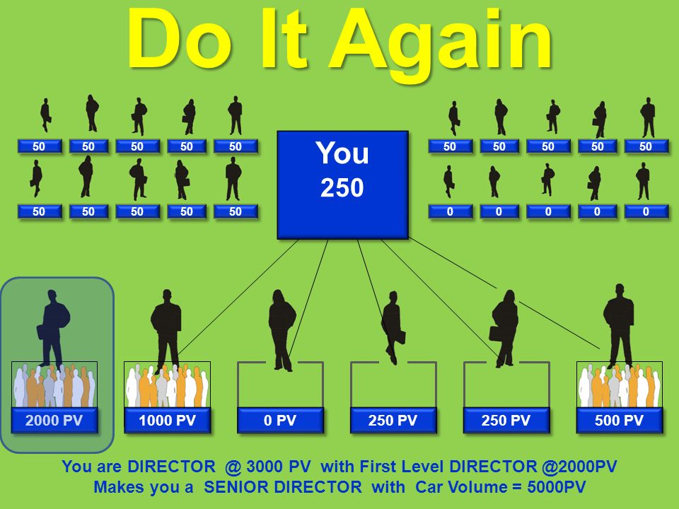 You are DIRECTOR @ 3000 PV with First Level DIRECTOR @2000PV Makes you a SENIOR DIRECTOR with Car Volume = 5000PV 500 PV 250 PV 0 PV 1000 PV Do It Again 50 0 0 0 0 0 0 0 0 0 0 You 250 You 250 2000 PV