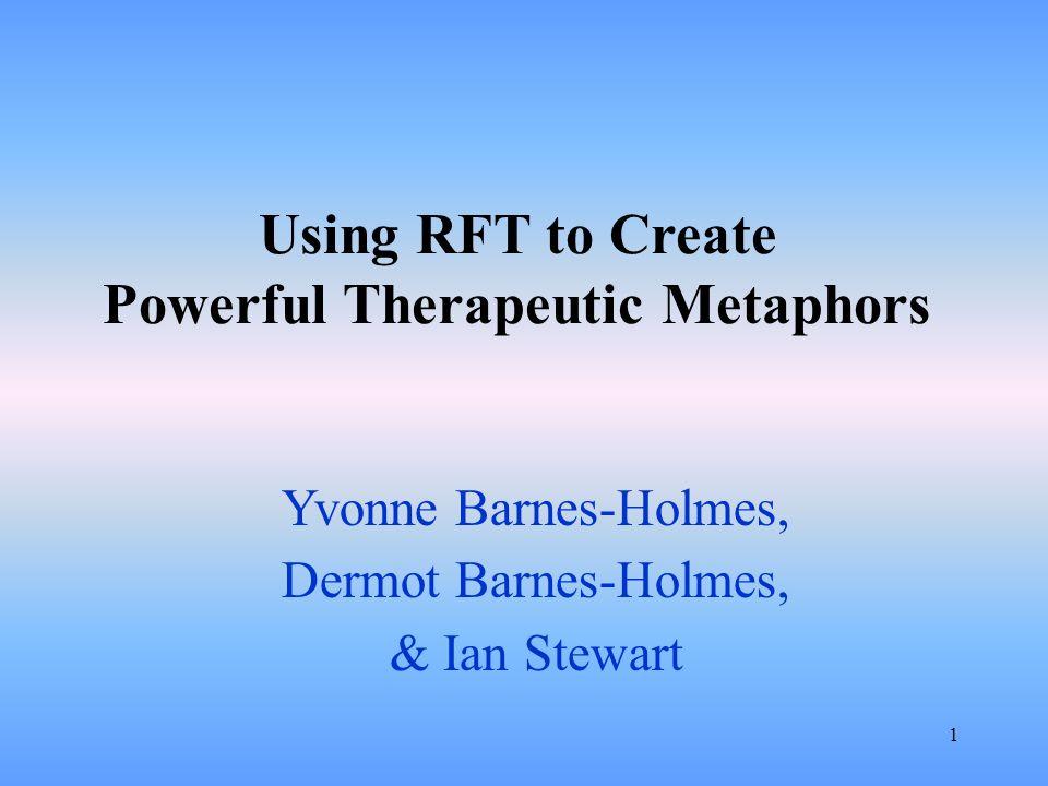1 Using RFT to Create Powerful Therapeutic Metaphors Yvonne Barnes-Holmes, Dermot Barnes-Holmes, & Ian Stewart