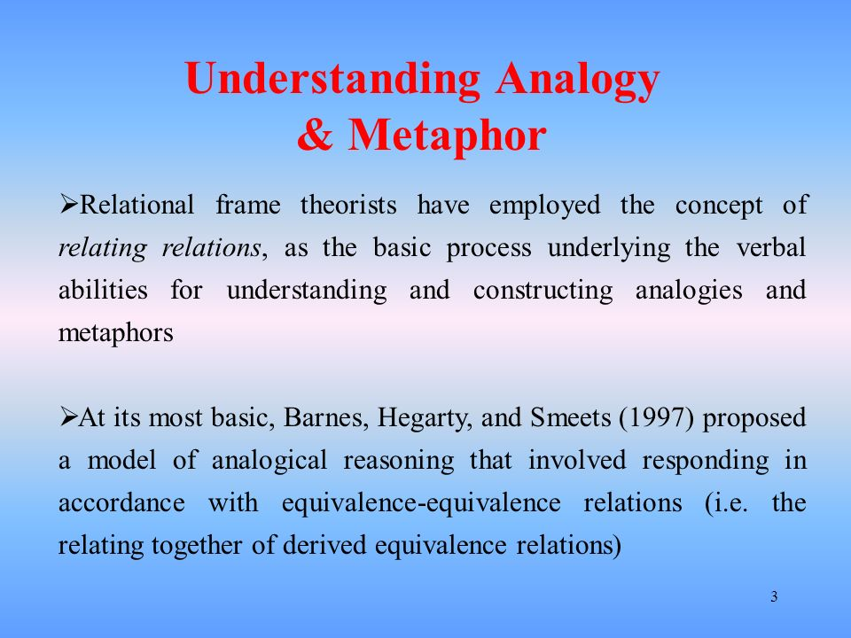 3 Relational frame theorists have employed the concept of relating relations, as the basic process underlying the verbal abilities for understanding a