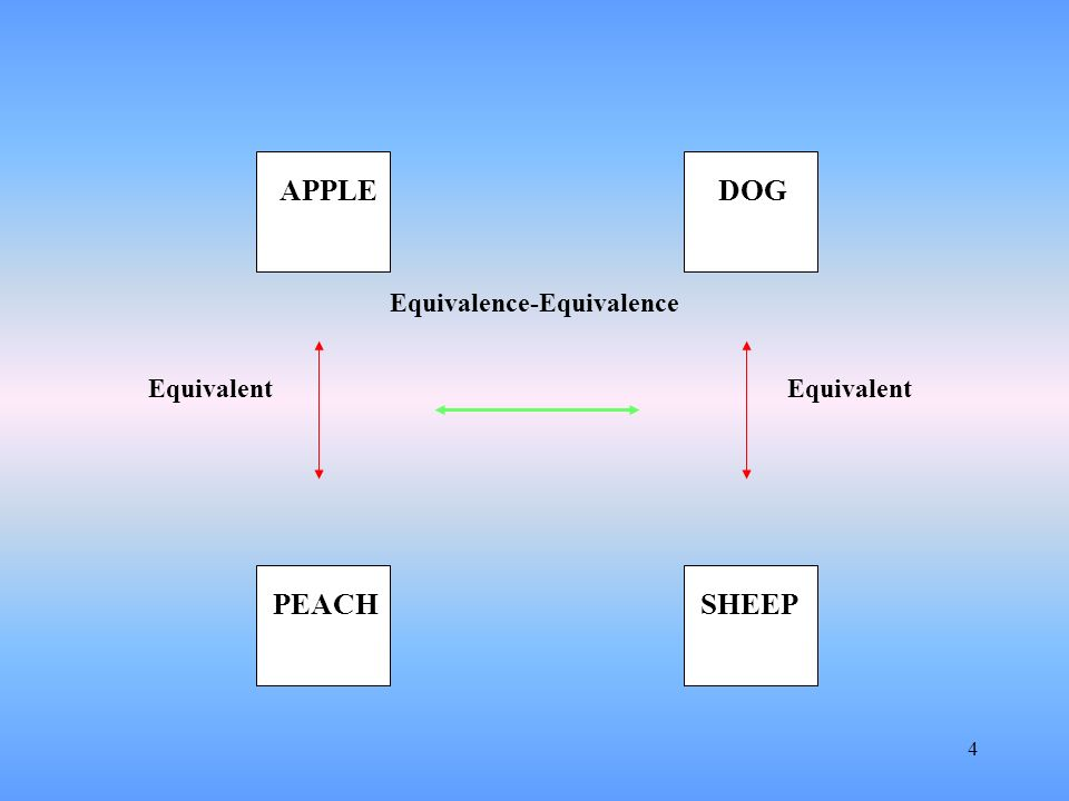 5 The previous example involved the derivation of arbitrary stimulus relations But analogies and metaphors also appear to abstract out non- arbitrary relations among events Consider the analogy Apple is to Peach as Dog is to Sheep This abstracts out specific non-arbitrary properties that pertain to each of the two sets of relations Is that it?