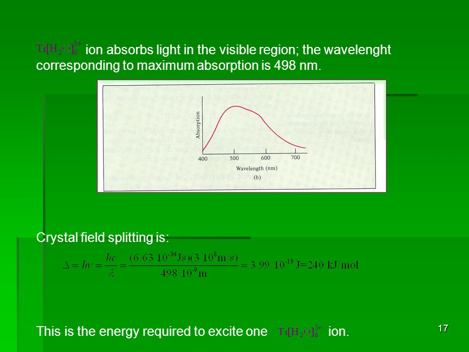 17 ion absorbs light in the visible region; the wavelenght corresponding to maximum absorption is 498 nm. Crystal field splitting is: This is the ener