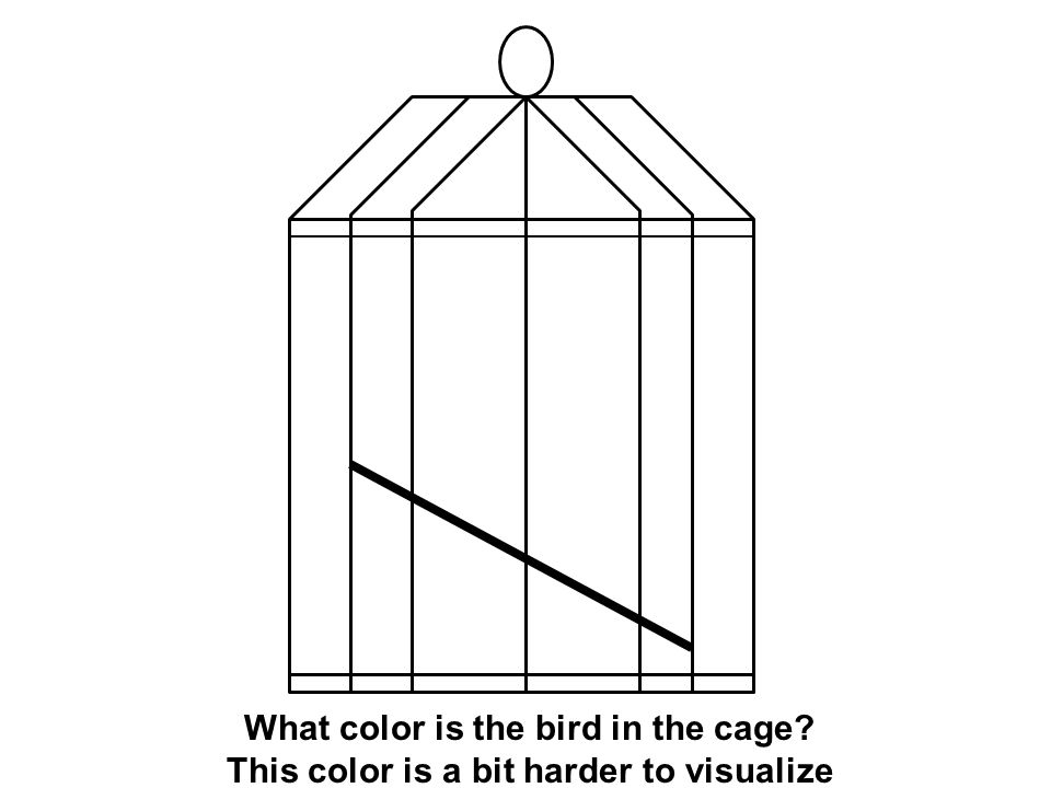What color is the bird in the cage? This color is a bit harder to visualize