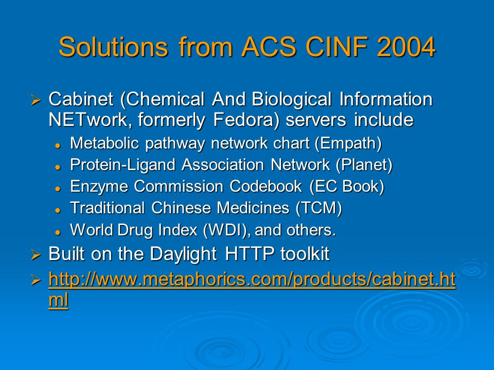 Solutions from ACS CINF 2004 Cabinet (Chemical And Biological Information NETwork, formerly Fedora) servers include Cabinet (Chemical And Biological I