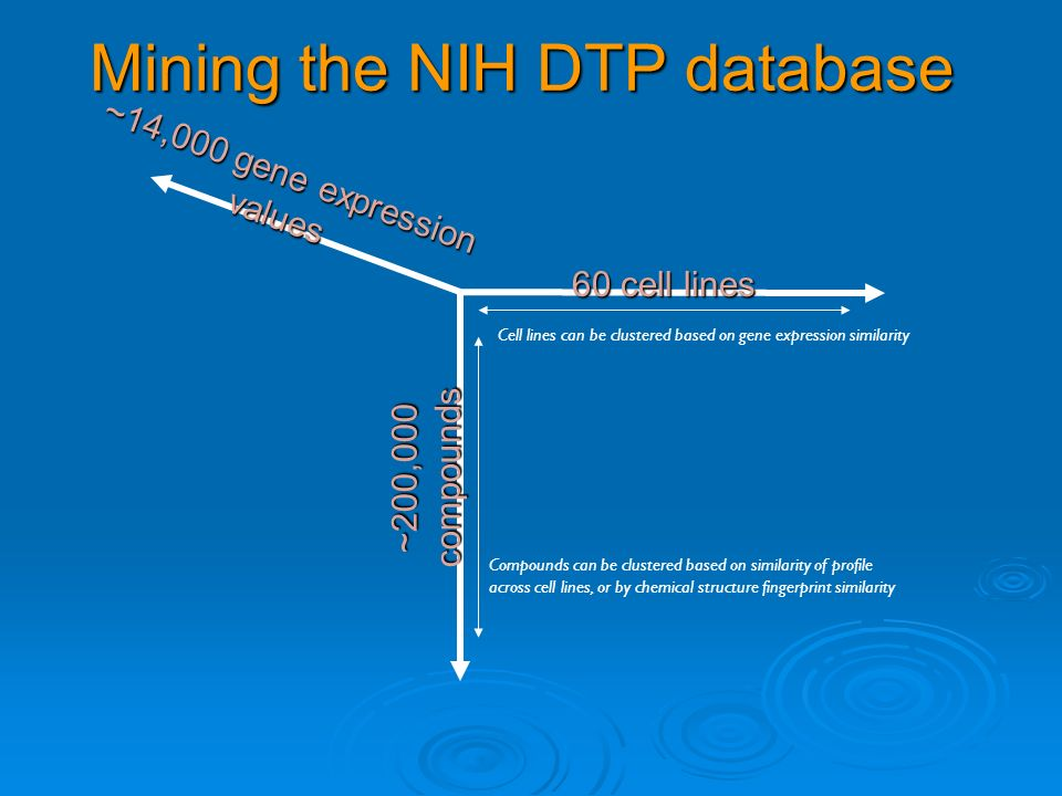 Mining the NIH DTP database ~200,000 compounds 60 cell lines ~14,000 gene expression values Cell lines can be clustered based on gene expression simil