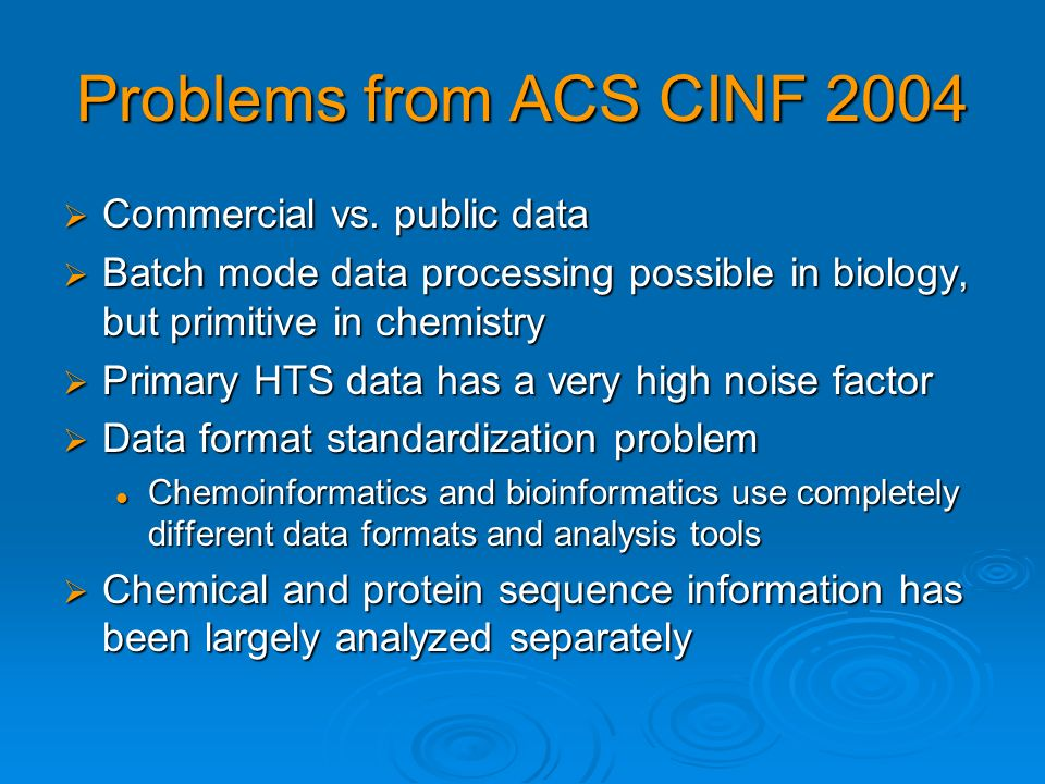 Solutions from ACS CINF 2004 Linking biological and chemical information in computational approaches to predict biological activity, ADME profiles, and adverse drug reactions (ADR) Linking biological and chemical information in computational approaches to predict biological activity, ADME profiles, and adverse drug reactions (ADR) Energetics of binding for more accurate and sensitive chemical representation of DNA- protein interactions Energetics of binding for more accurate and sensitive chemical representation of DNA- protein interactions A discovery informatics platform that facilitates archival, sharing, integration, and exploration of synthetic methods and biological activity data A discovery informatics platform that facilitates archival, sharing, integration, and exploration of synthetic methods and biological activity data