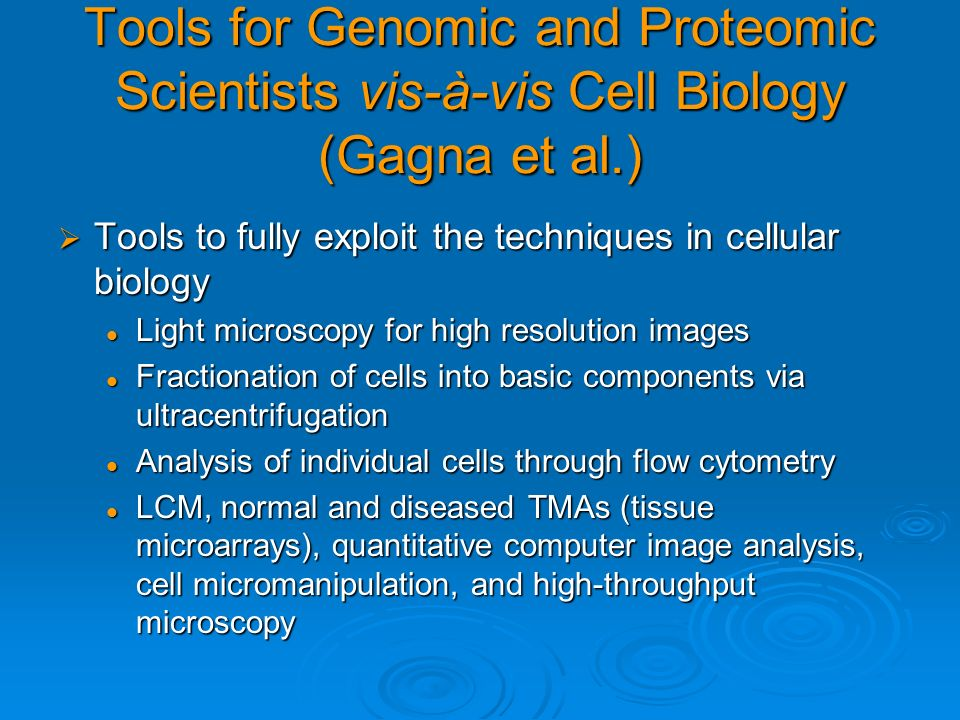 Tools for Genomic and Proteomic Scientists vis-à-vis Cell Biology (Gagna et al.) Tools to fully exploit the techniques in cellular biology Tools to fu