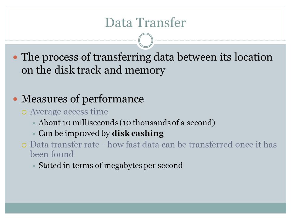 Data Transfer The process of transferring data between its location on the disk track and memory Measures of performance Average access time About 10