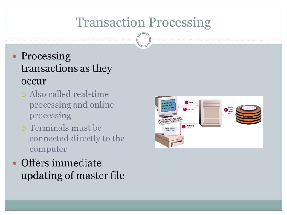 Transaction Processing Processing transactions as they occur Also called real-time processing and online processing Terminals must be connected direct