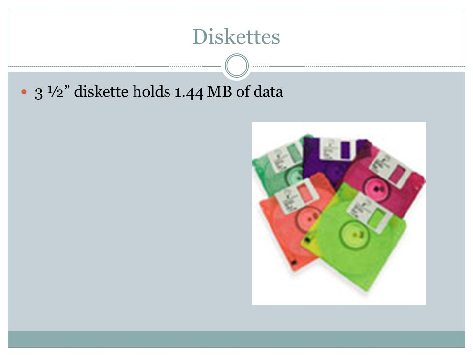 Diskettes 3 ½ diskette holds 1.44 MB of data