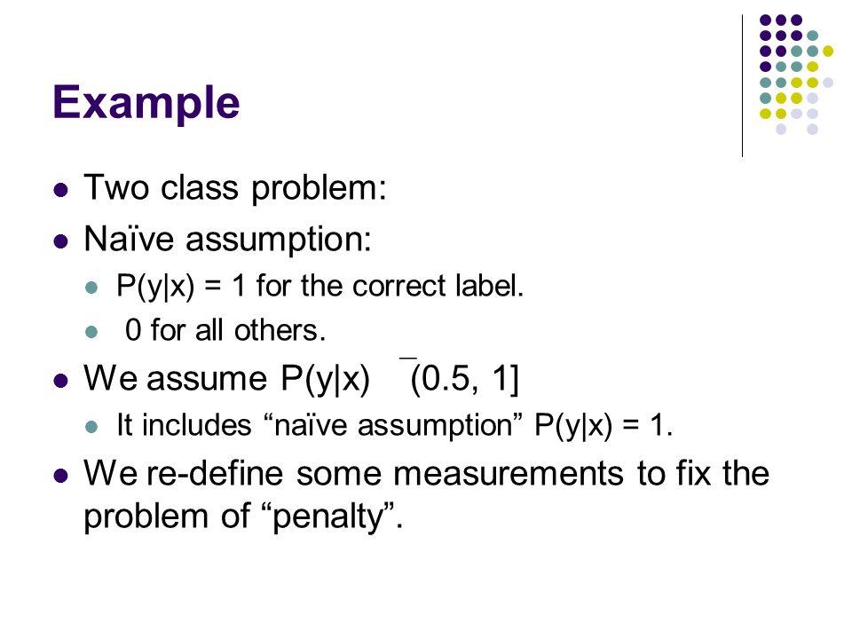 Example Two class problem: Naïve assumption: P(y|x) = 1 for the correct label. 0 for all others. We assume P(y|x) (0.5, 1] It includes naïve assumptio
