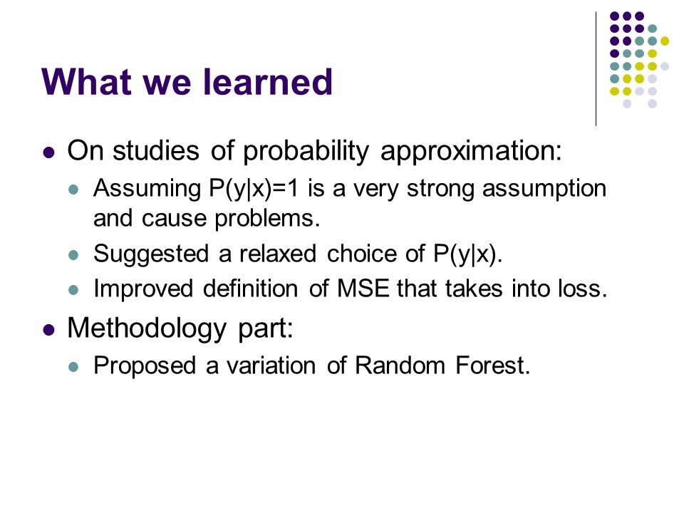 What we learned On studies of probability approximation: Assuming P(y|x)=1 is a very strong assumption and cause problems. Suggested a relaxed choice