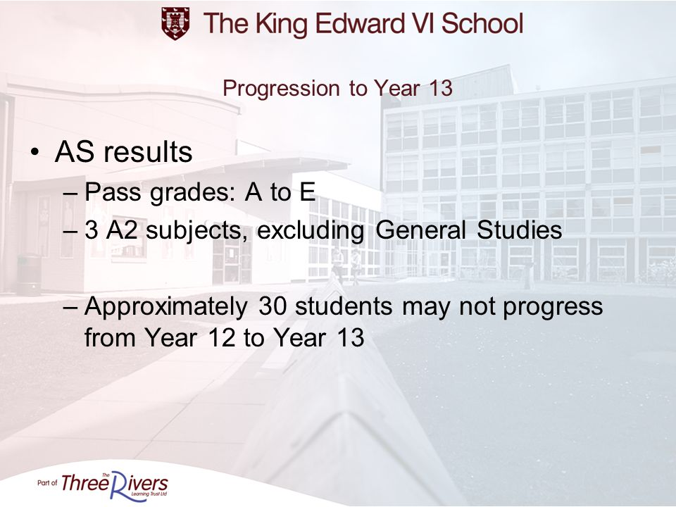 Progression to Year 13 AS results –Pass grades: A to E –3 A2 subjects, excluding General Studies –Approximately 30 students may not progress from Year