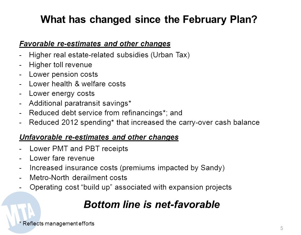 Even assuming annually recurring cost savings, three net zeros and biennial fare and toll increases, the February Plan projected $325 million of defic