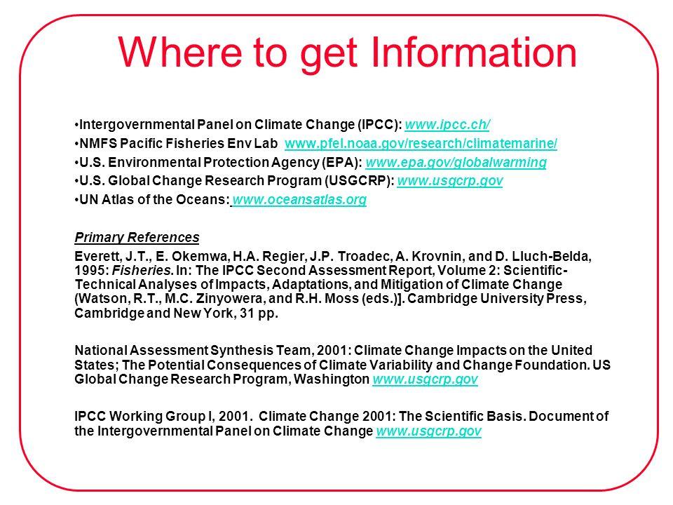 Where to get Information Intergovernmental Panel on Climate Change (IPCC): www.ipcc.ch/www.ipcc.ch/ NMFS Pacific Fisheries Env Lab www.pfel.noaa.gov/r