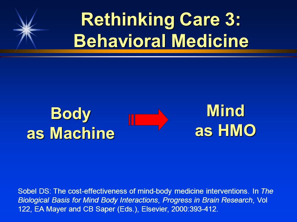 Rethinking Care 3: Behavioral Medicine Body as Machine Mind as HMO Sobel DS: The cost-effectiveness of mind-body medicine interventions. In The Biolog