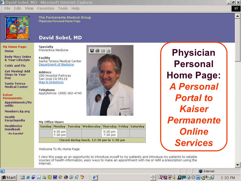 Physician Personal Home Page: A Personal Portal to Kaiser Permanente Online Services