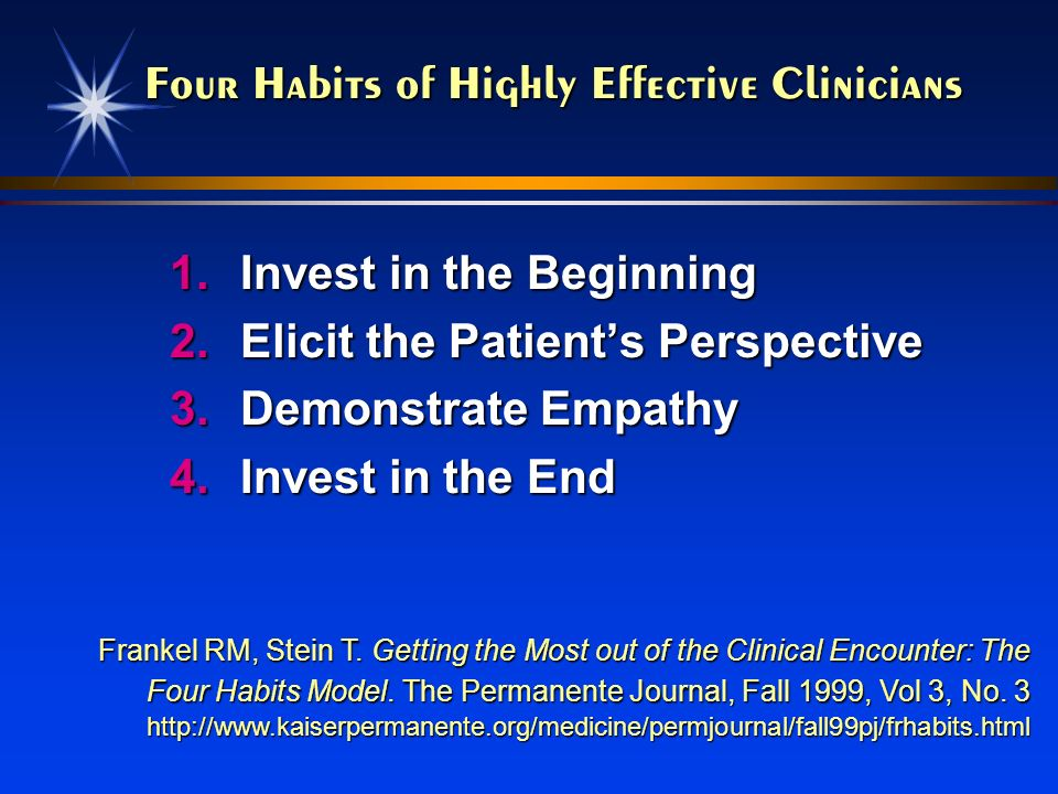 Four Habits of Highly Effective Clinicians 1.Invest in the Beginning 2.Elicit the Patients Perspective 3.Demonstrate Empathy 4.Invest in the End Frank