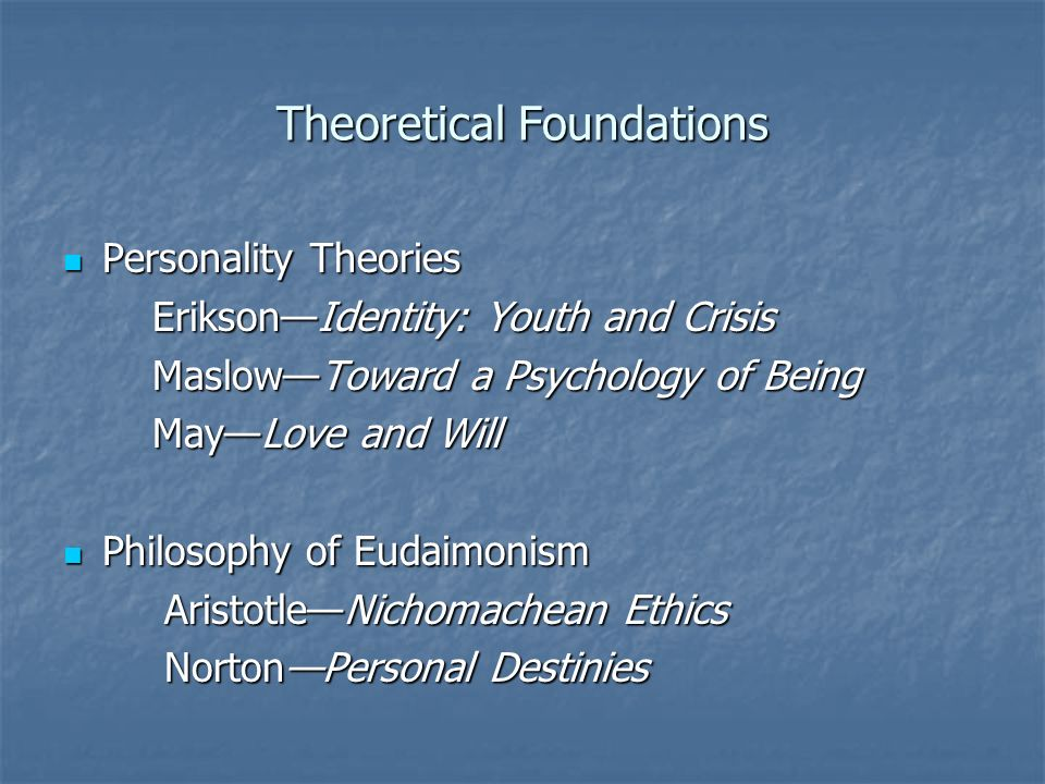 Theoretical Foundations Personality Theories Personality Theories EriksonIdentity: Youth and Crisis EriksonIdentity: Youth and Crisis MaslowToward a P