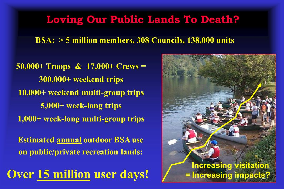 Loving Our Public Lands To Death? Increasing visitation = Increasing impacts? 50,000+ Troops & 17,000+ Crews = 300,000+ weekend trips 10,000+ weekend