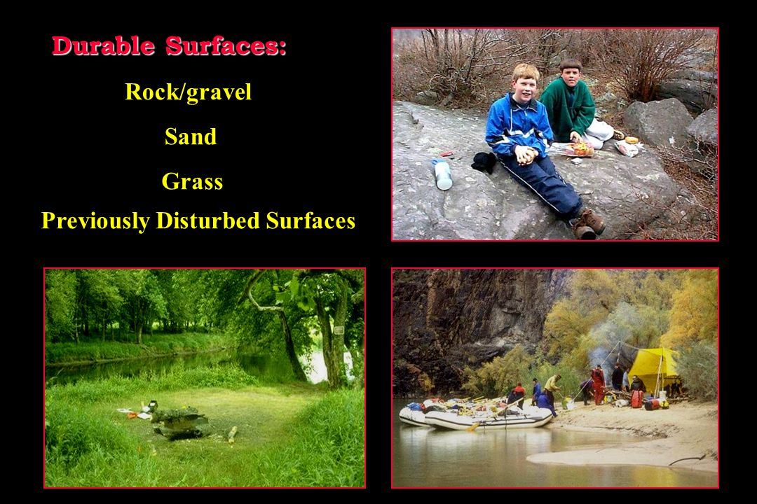 Durable Surfaces: Sand Previously Disturbed Surfaces Grass Rock/gravel