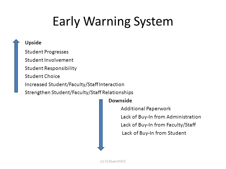 Early Warning System Upside Student Progresses Student Involvement Student Responsibility Student Choice Increased Student/Faculty/Staff Interaction S
