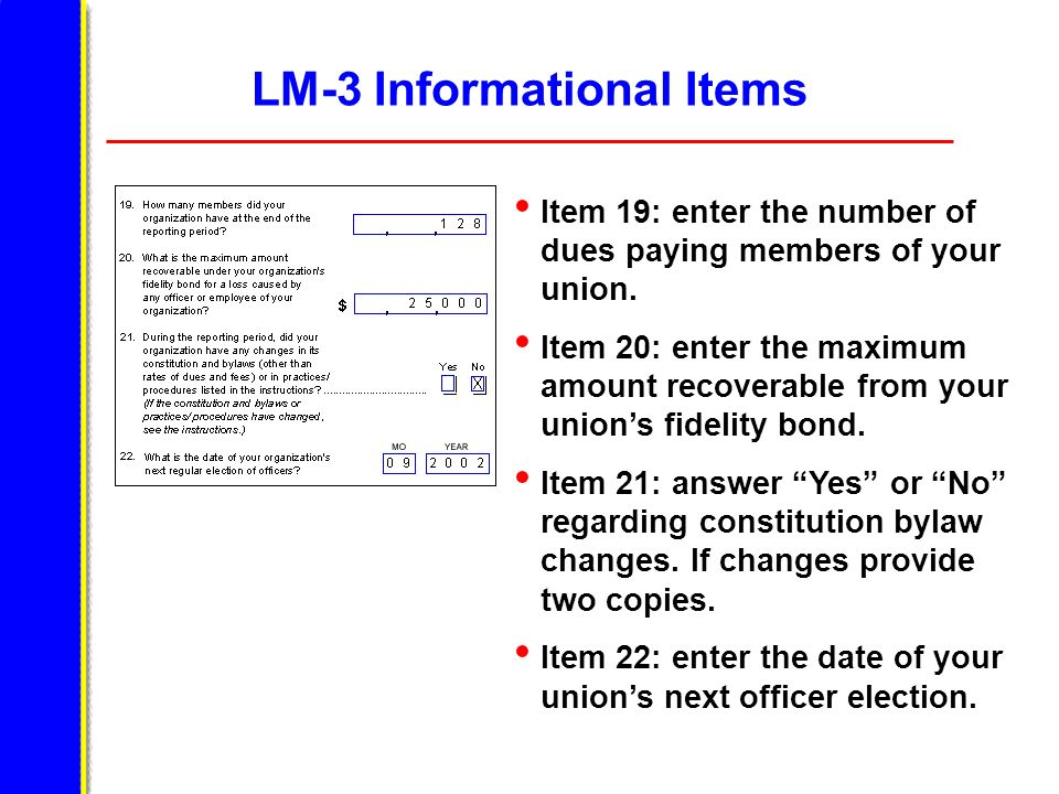 LM-3 Informational Items Item 19: enter the number of dues paying members of your union. Item 20: enter the maximum amount recoverable from your union