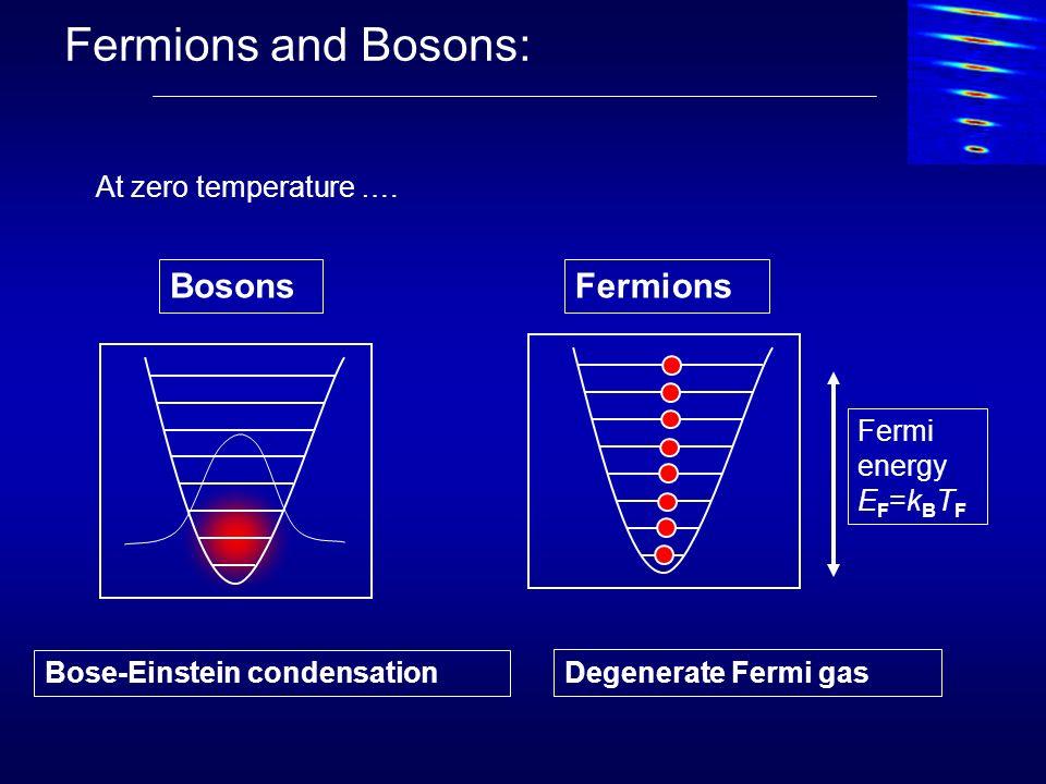 Fermions and Bosons: Fermi energy E F =k B T F Bose-Einstein condensation Degenerate Fermi gas BosonsFermions At zero temperature ….