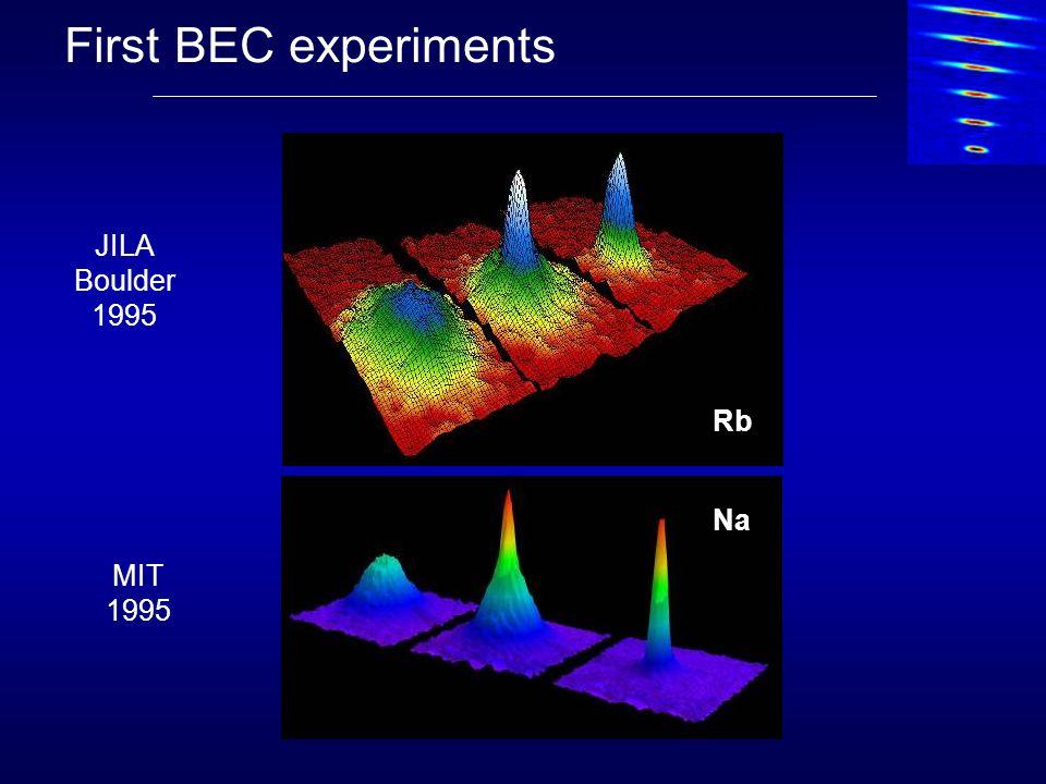 First BEC experiments JILA Boulder 1995 MIT 1995 Rb Na