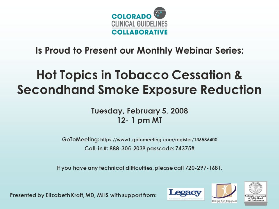 www.coloradoguidelines.org/tobacco 12 Tobacco Cessation Obesity Diabetes Apply these systems changes to other chronic conditions Answer: Practice redesign with tobacco cessation guideline integration as the process