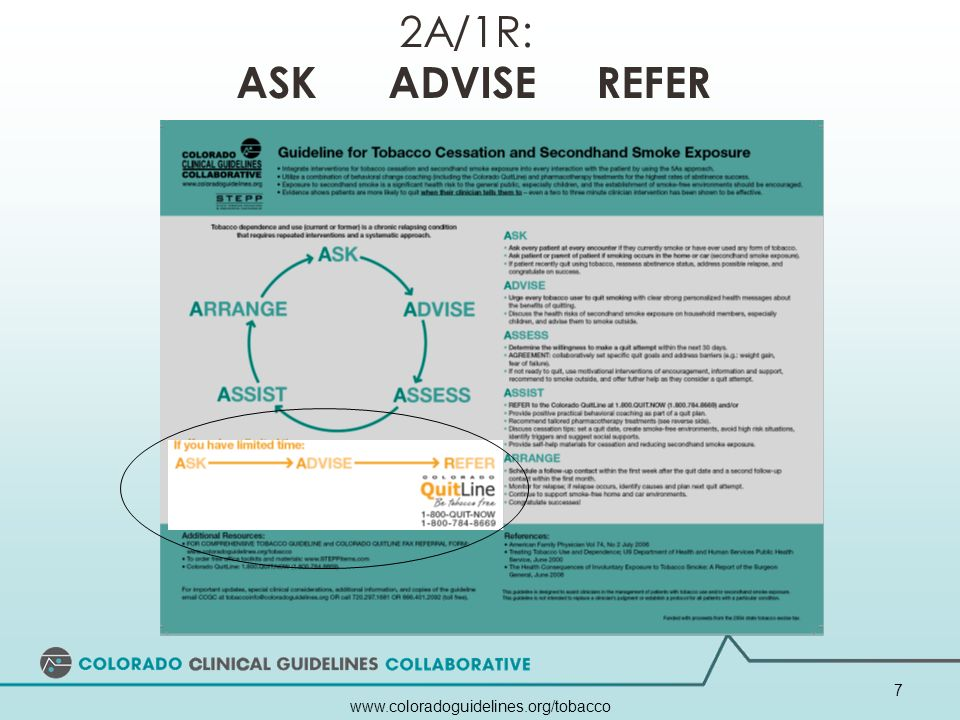 www.coloradoguidelines.org/tobacco 7 2A/1R: ASK ADVISE REFER