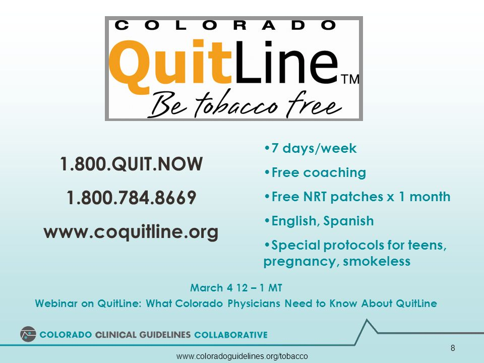 www.coloradoguidelines.org/tobacco 9 Have Tools Readily Available Order free supplies at: www.steppitems.com