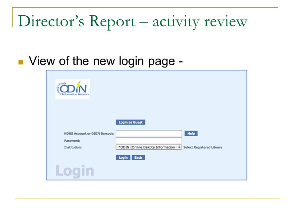 Directors Report – activity review View of the new login page -