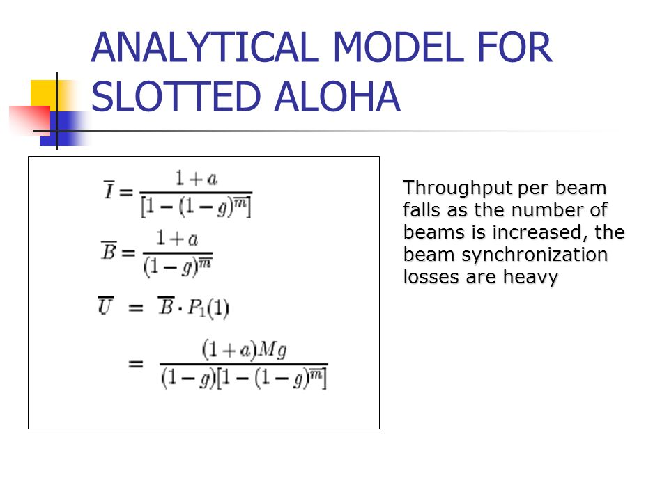ANALYTICAL MODEL FOR SLOTTED ALOHA Throughput per beam falls as the number of beams is increased, the beam synchronization losses are heavy