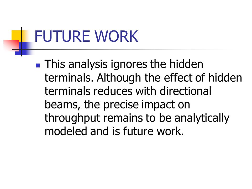 FUTURE WORK This analysis ignores the hidden terminals. Although the effect of hidden terminals reduces with directional beams, the precise impact on