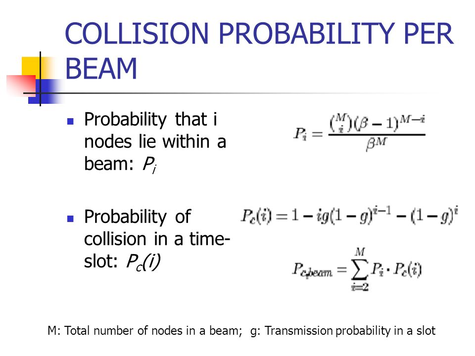 COLLISION PROBABILITY PER BEAM Probability that i nodes lie within a beam: P i Probability of collision in a time- slot: P c (i) M: Total number of no