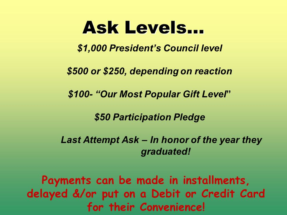 Ask Levels… $1,000 Presidents Council level $500 or $250, depending on reaction $100- Our Most Popular Gift Level $50 Participation Pledge Last Attemp