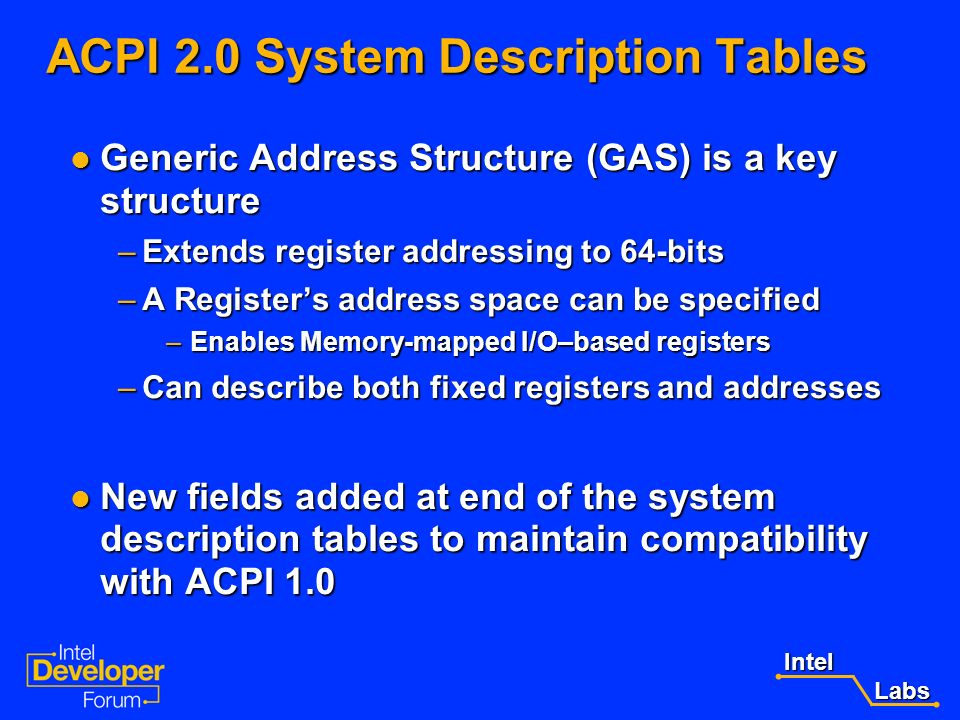 Intel Labs Labs ACPI 1.0 Support for IA-64 Systems ACPI 1.0 System Description Tables for IA-64 (interim tables) ACPI 1.0 System Description Tables fo