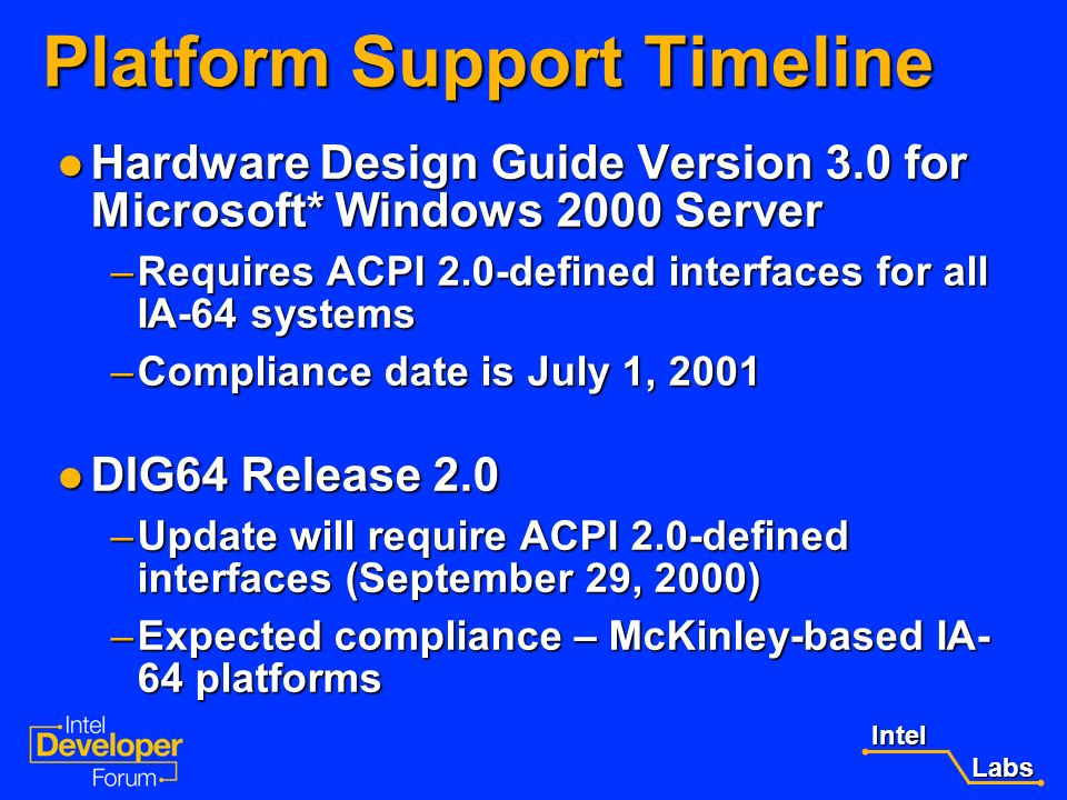 Intel Labs Labs ACPI 2.0 Release Schedule ACPI 2.0 is published! ACPI 2.0 is published! Download the spec from the teleport site: http://www.teleport.
