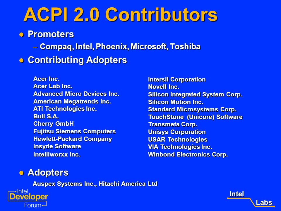 Intel Labs Labs Call To Action Review the ACPI 2.0 specification Review the ACPI 2.0 specification –http://www.teleport.com/~acpi http://www.teleport.