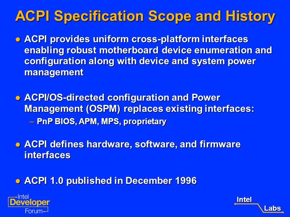 Intel Labs LabsAgenda ACPI Specification Scope and History ACPI Specification Scope and History ACPI 2.0 Overview ACPI 2.0 Overview ACPI 2.0 support f