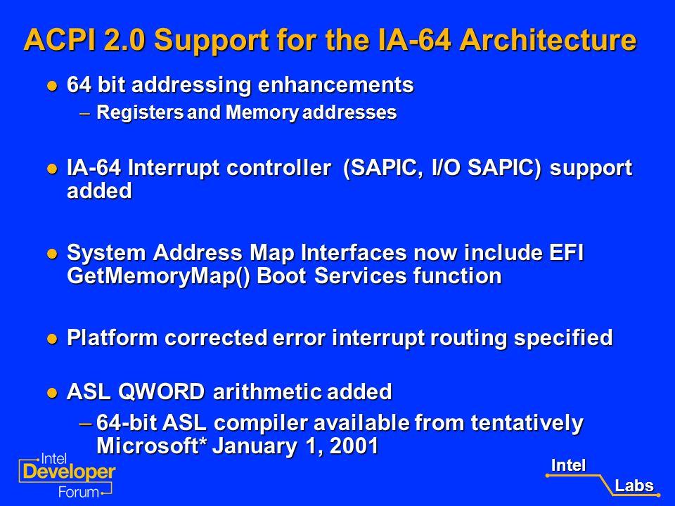 Intel Labs Labs ACPI 2.0 Overview 64-bit processor / addressing support added 64-bit processor / addressing support added Processor / device performan