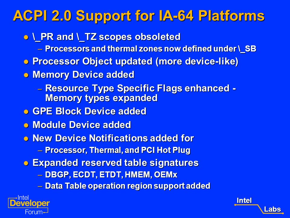 Intel Labs Labs ACPI 2.0 Support for the IA-64 Architecture 64 bit addressing enhancements 64 bit addressing enhancements –Registers and Memory addres
