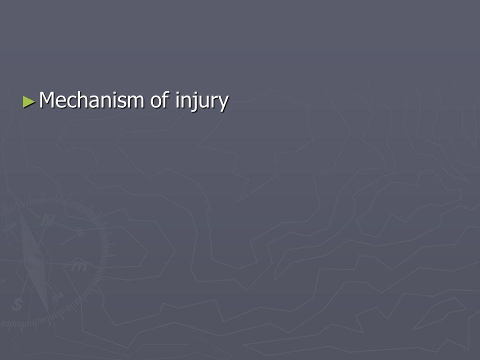 Mechanism of injury Mechanism of injury