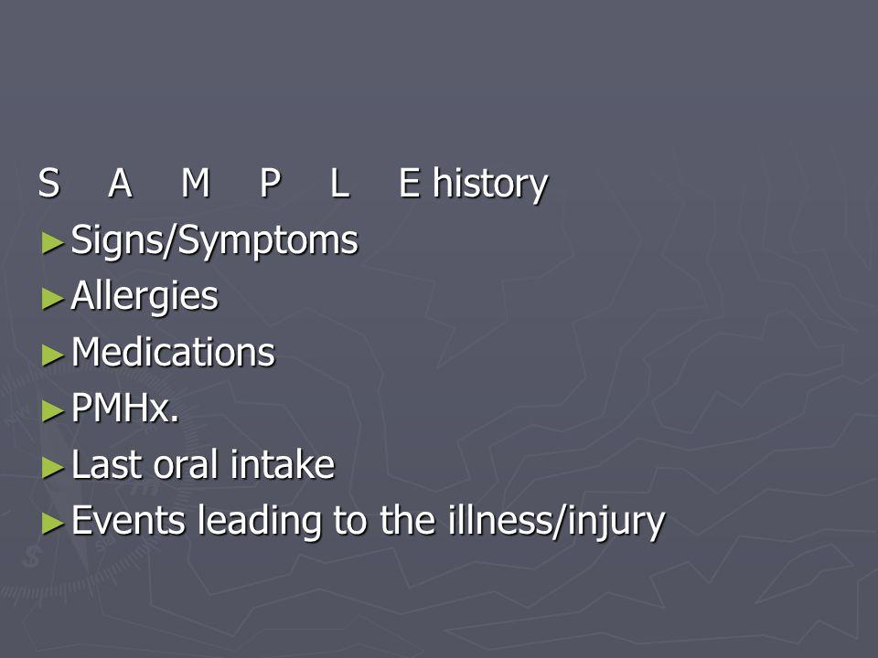 S A M P L E history Signs/Symptoms Signs/Symptoms Allergies Allergies Medications Medications PMHx. PMHx. Last oral intake Last oral intake Events lea