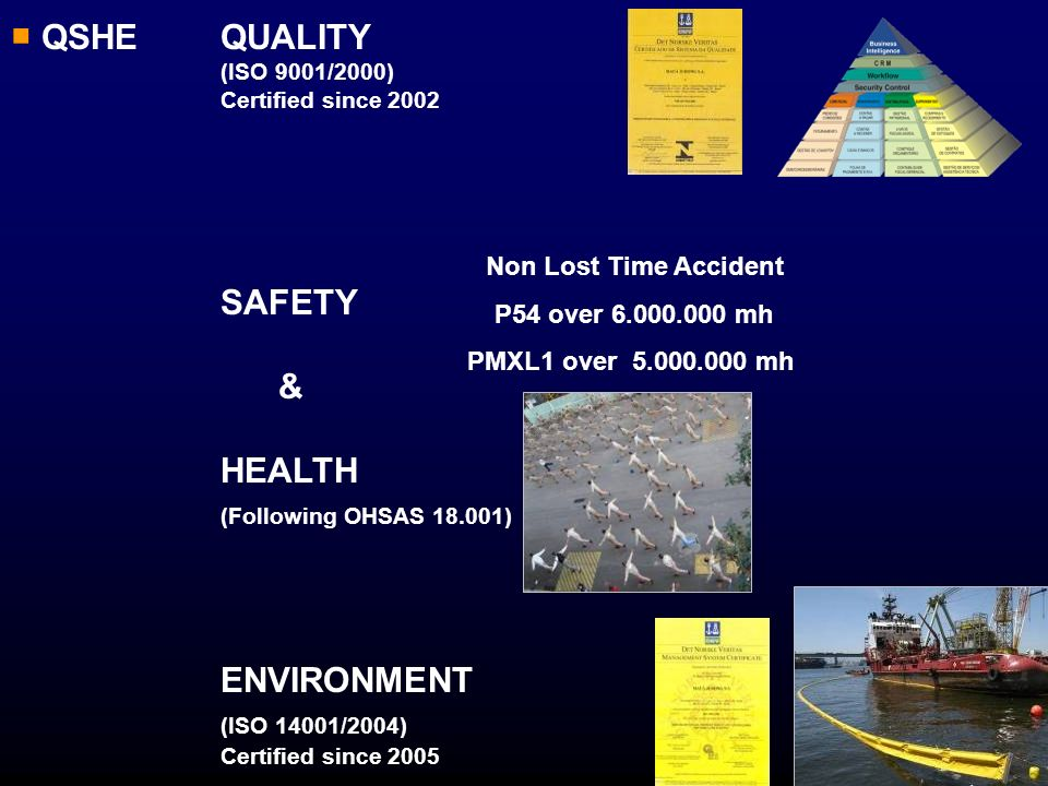 QSHE QUALITY (ISO 9001/2000) Certified since 2002 SAFETY & HEALTH (Following OHSAS 18.001) ENVIRONMENT (ISO 14001/2004) Certified since 2005 Non Lost
