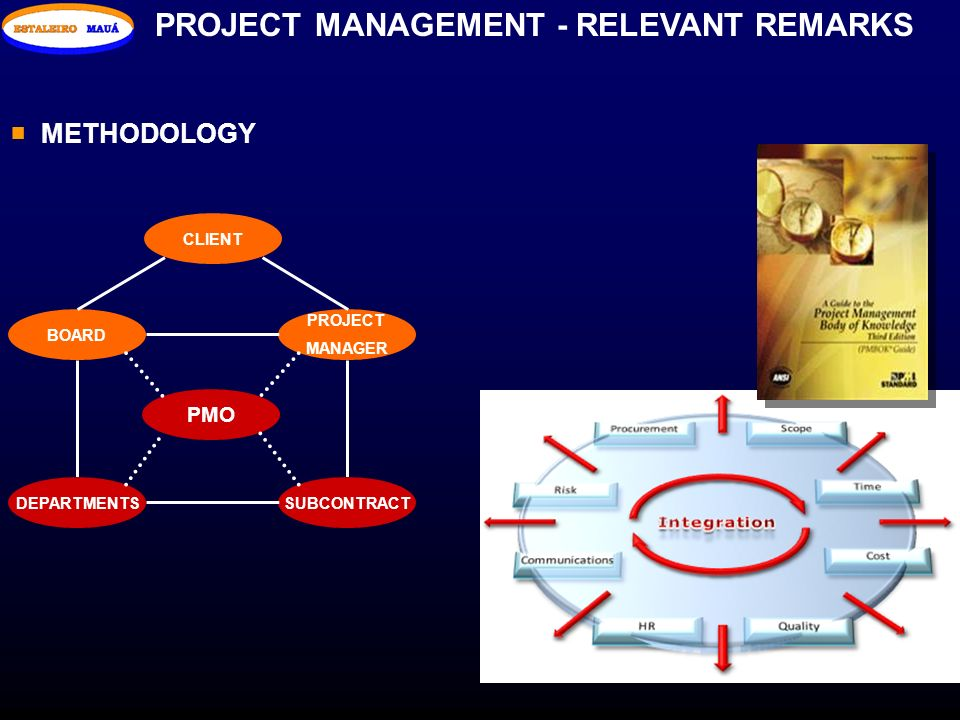 PROJECT MANAGEMENT - RELEVANT REMARKS METHODOLOGY PMO BOARD DEPARTMENTS PROJECT MANAGER SUBCONTRACT CLIENT
